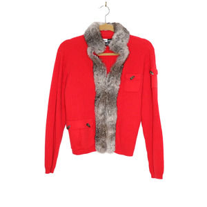 JAMIE SADOCK Fur Lined Red Cardigan S